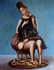 Tatiana Siedl, olejomaľba, My little black dress, 110x85cm